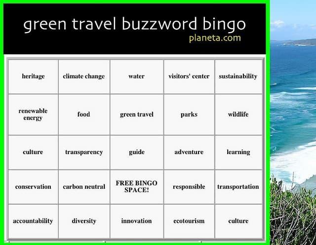 Green Travel buzzword bingo