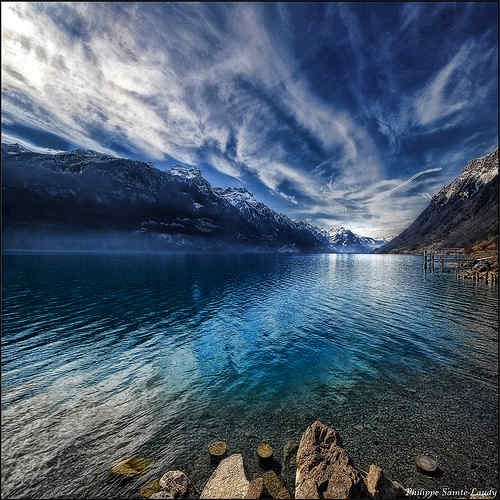 Mountains and water in Brienz Switzerland