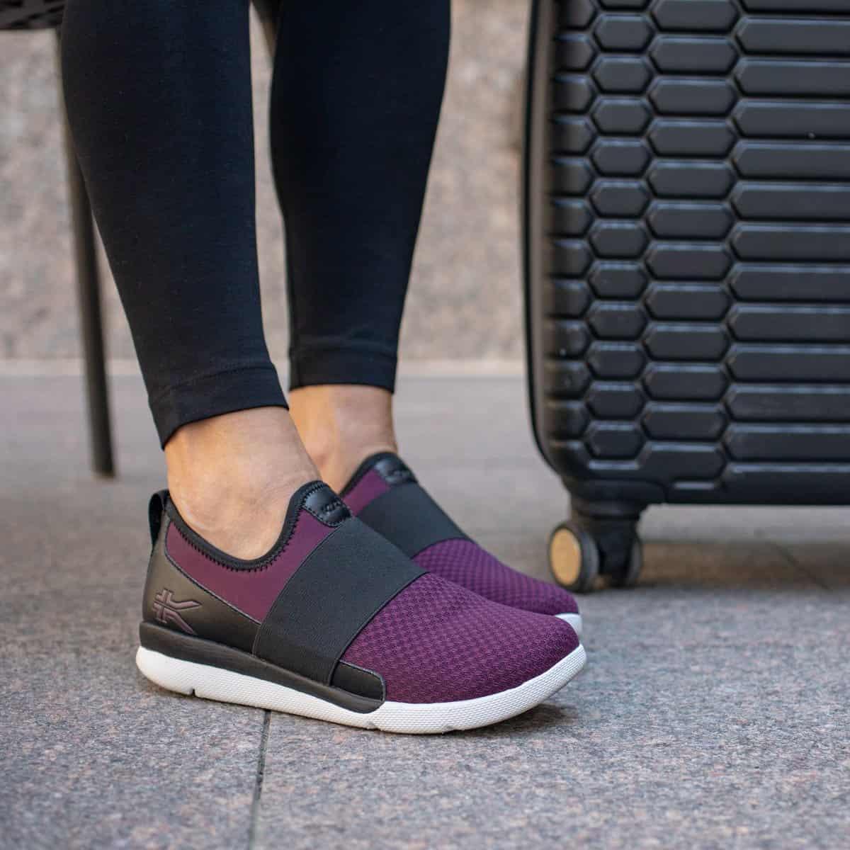 lady wearing plantar fasciitis shoes