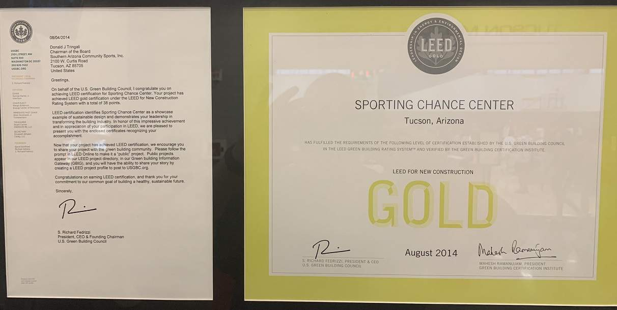 Tucson Sporting Chance LEEDS Certificate
