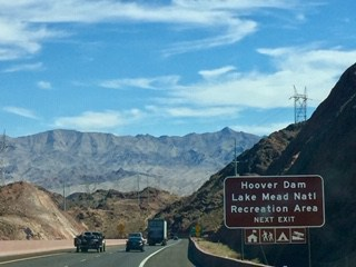 Visiting Hoover Dam sign